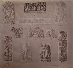 Photographic copy of a drawing of various sculptures from the Broadley Collection, Bihar Museum